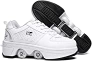 KOFUBOKE Retractable Roller Shoes Adult and Kid's Skating Shoes Men and Women Walking Shoes with W