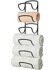 mDesign Modern Decorative Six Level Bathroom Towel Rack Holder & Organizer, Wall Mount - for Storage of Bath Towels, Washcloths, Hand Towels - Black