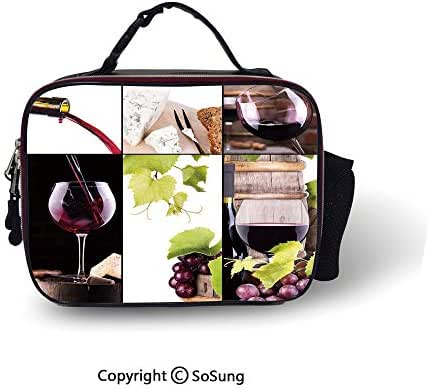 Wine Lunch Bags For Women&Men Wine Collage with Barrel Bottle Wineglass Grape Gourmet Taste Beverage Decorative Lunch Cooler Tote,10.6x8.3x3.5 inch,Burgundy Light Green White
