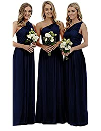Staypretty Women's Long One Shoulder Bridesmaid Gown Asymmetric Prom Evening Dress