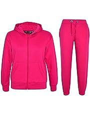 Kids Girls Boys Plain Tracksuit Hooded Top Bottom Back to School Jog Suit 2-13 Y