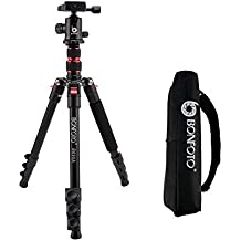 """BONFOTO B690A Lightweight Aluminum Alloy Camera Travel Portable Tripod with 360 Degree Ball Head,1/4"""" Quick Release Plate and Carry Bag for Canon Nikon Sony DSLR"""