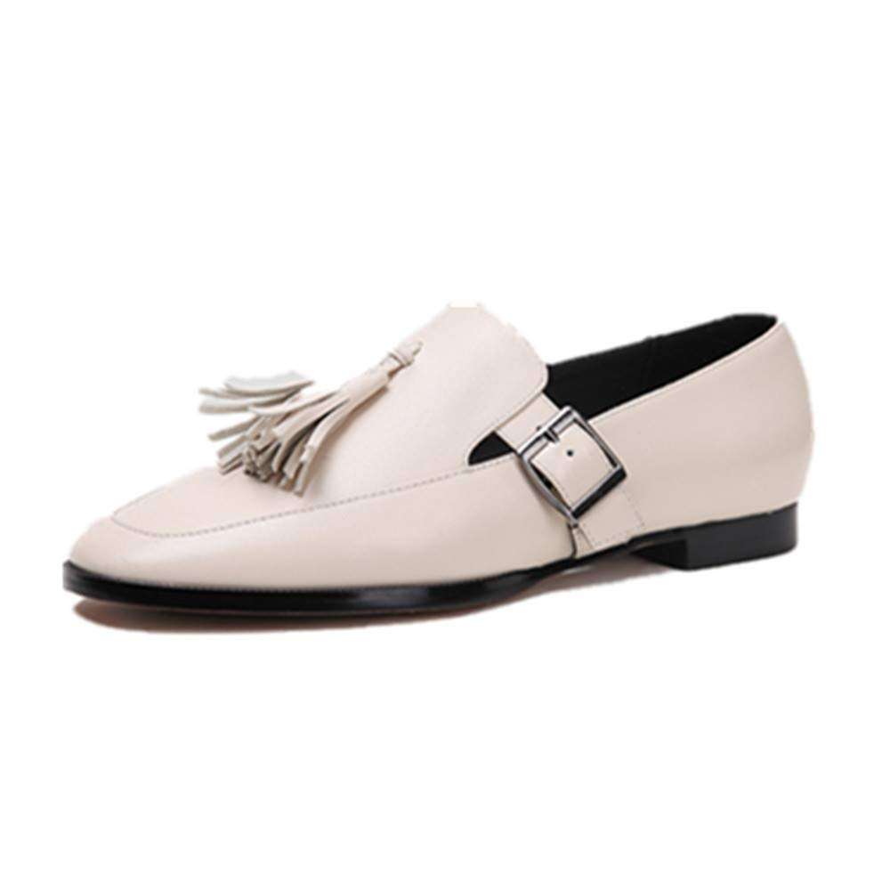 Beige Nine Seven Genuine Leather Women's Round Toe Flat Chunky Heel Cute Handmade Concise Slip On Women Dress Pumps with Tassel