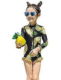 SUPEYA Toddler Girls Pineapple Print One-Piece Swimsuit Ruffle Rash Guard Swimwear