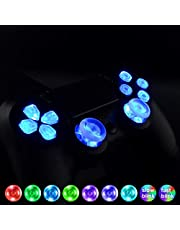 eXtremeRate Multi-Colors Luminated D-pad Thumbsticks Face Buttons (DTF) LED Kit for PS4 Controller 7 Colors 9 Modes Touch Control