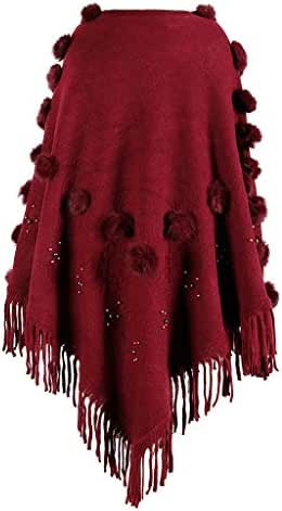 NOMUSING Winter Overcoat for Women Fashion Casual O-Neck Solid Hairball Tassel Cloak Loose Shawl Cardigan Sweater Coat