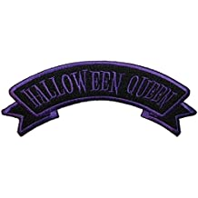"""[Single Count] Custom and Unique (5"""" x 2"""" Inch) """"Halloween"""" Seasonal Edgy Retro Girly Dark Spooky Halloween Queen Design Iron On Embroidered Applique Patch {Purple & Black Colored}"""