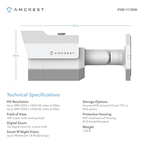 Amcrest UltraHD 5MP POE Bullet IP Security Camera