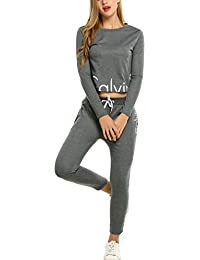 Two-Piece Jumpsuit, Women Long Sleeve Sportswear Tracksuit Sets Tops with Sweatpants