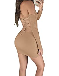 Women's Sexy Off Shoulder Backless Lace Up Club Bodycon...
