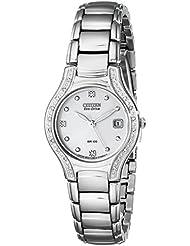 Citizen Womens EW0970-51B Silhouette Diamond Eco Drive Watch in Silver Tone