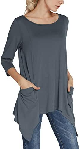 Urban CoCo Women's Plus Size Pocket Tunic Top 3/4 Sleeve Shirt