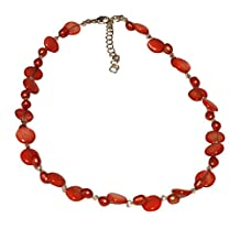 Chic-Net ladies chain pearl necklace red carnelian beads mother of pearl shell tiles 42-48 cm Carabiner nickel free