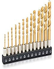 Tooluxe 10171L 1/4-Inch Hex Shank Drill Bit Set with Quick Change Design, Titanium Coated Steel 13-Piece