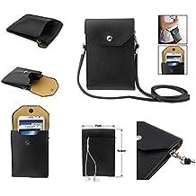 DFV mobile - Funda Tablet y Smartphone Piel Sintetica Bolso con Correa y Cierre por Clip Iman para => INNJOO HALO2 LTE > Negra