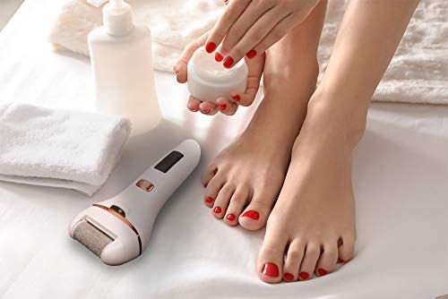 Bemece Electric Foot File, Rechargeable Foot Grinder, Electric Foot Callus Remover with Light, Professional Feet Care for Dry and Dead Skin