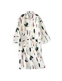 FANCY PUMPKIN Women's Kimono Robe Yukata Bathrobe Pajamas Pink Butterfly