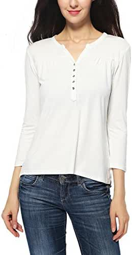 Women's V-neck 3/4 Sleeve Organic Bamboo T-shirt Henley Top