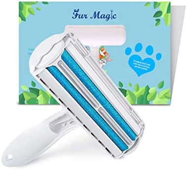 Fur Magic Reusable Pet Hair Remover Roller for Dog, Cat and Other Pet Hair with Improved Handle, Easy to Clean Lint Remover for Furniture, Sofa, Carpet and Bedding, Blue