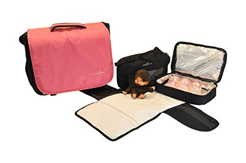 Obersee Madrid Convertible Diaper Backpack Messenger Bag, Pink