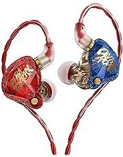 KBEAR OS1PRO Whizzer in ear monitor hörlurar för musiker, Hi-Fi headset hörlurar hörlurar med sladd, grafen dynamisk bas ökat högt, brusreducering, Auriculares avtagbar kabel (med mikrofon, röd)