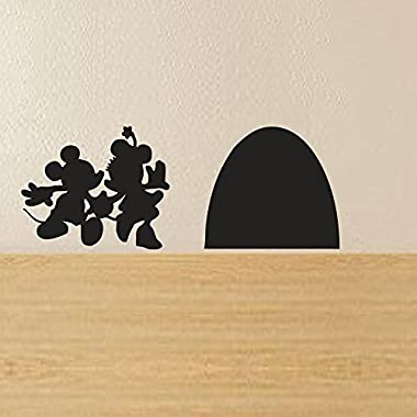 Mickey and Minnie's Mouse House Wall Decal(6.5 X 2.5 ,black)