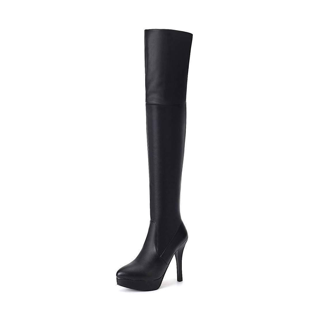 Stiefel-DEDE Stiefel-DEDE Stiefel-DEDE Hochhackige Gino- Stiefel in Europa und den Vereinigten Staaten Stiefel über dem Knie groß   Wasserdichte Stiefel mit Plateau 57d329