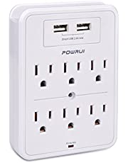 Surge Protector, POWRUI USB Wall Charger with 2 USB charging ports(smart 2.4A Total), 6-Outlet Extender and Top Phone Holder for Your Cell Phone, White, ETL Listed