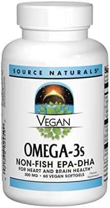 Source Naturals Vegan Omega-3s EPA-DHA 300mg - Pure, Plant Based Supplement - 60 Veggie Soft Gels