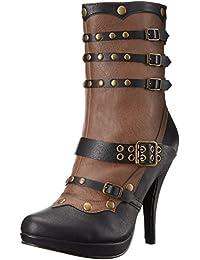 1031 414-JULES Women 4 Inch Buckle Strap Side Zip Stud Steam Punk Ankle Bootie, Color:BLACK, Size:9