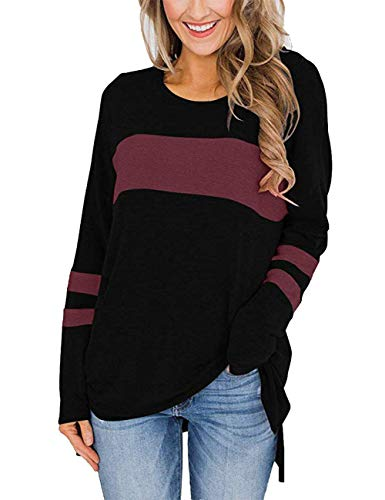 Ido4U Women's Color Block Long Sleeve Shirt Round Neck Pullover Side Split High Low Tunic Tops (Black, M)