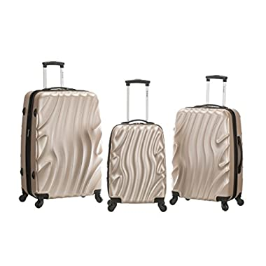 Rockland Melbourne 3 Piece Abs Luggage Set, Goldwave, One Size