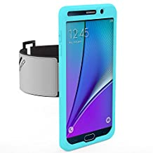 Galaxy Note 5 Armband, MoKo Silicone Armband for Samsung Galaxy Note 5 5.7 Inch 2015 release - Key Holder Slot, well-rounded protection, Perfect Earphone Connection while Workout Running, Light BLUE