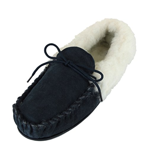 Sheepskin with World Deluxe Ladies Lambswool Moccasin Slippers with Sheepskin Hard Sole - Suede Upper B01KK8T8LS Shoes 059586