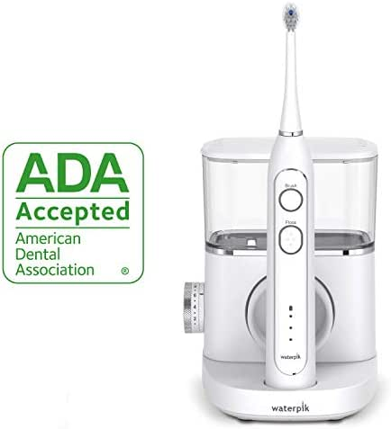 Waterpik Electric Toothbrush & Water Flosser Combo in One – Sonic-fusion Professional Flossing Toothbrush, SF-02 White