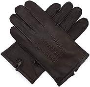 Harssidanzar Mens Luxury Italian Sheepskin Leather Gloves Wool Lined