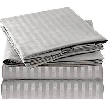 Mellanni Striped Bed Sheet Set - Brushed Microfiber 1800 Bedding - Wrinkle, Fade, Stain Resistant - Hypoallergenic - 4 Piece (King, Gray / Silver)