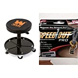 WEN 73012 300-Pound Capacity Pneumatic Rolling Mechanic Stool Seat & Ontel SpeedOut Damaged Screw Extractor & Bolt Extractor Set