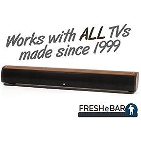 Bluetooth Leather Television Sound Bar - FRESHeBAR TV Soundbar - 24 inch, 90 Watt with Built-in Subwoofer - Dark...