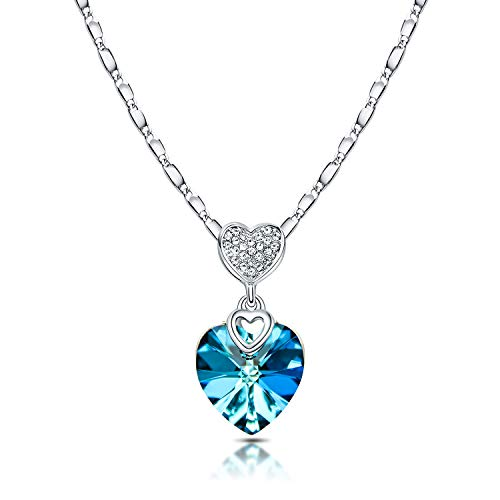RIMAYZI Platinum Plated Love Heart Crystals Necklace for Women, Pendant with Elegant Box Birthday Mothers day Gifts for Mom Wife Sister Daughters (Blue Crystal)