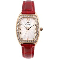 Ladies Fashion Watch, Womens Rose Gold Rectangular Diamond Case Waterproof Quartz Elegant Casual Wrist Watches for Girls with Comfortable Genuine Leather Band (Red)