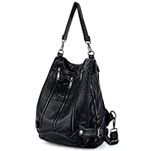 UTO Women Backpack Purse PU Washed Leather Triple Front Zipper Convertible Ladies Rucksack Shoulder Bag