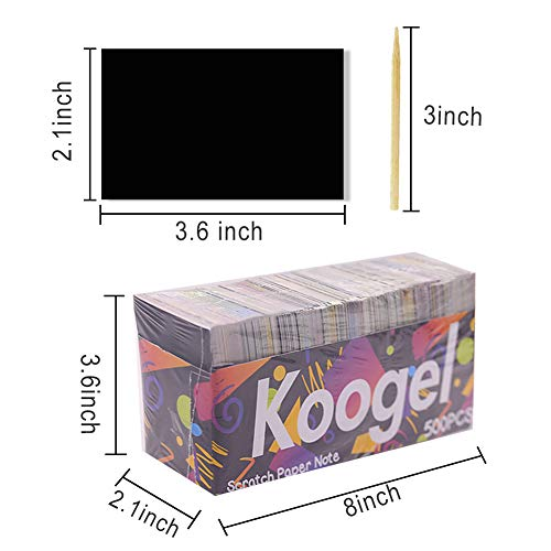 Koogel 500pcs Scratch Art for Kids, 3.6 inch x 2.1 inch Rainbow Scratch Art Rainbow Magic Scratch Paper Scratch Art Paper for Children Painting Art Creation Painting Teaching
