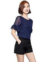 Women Dot Printed Chiffon Shirts Short Sleeve Summer T-Shirt Blouse Tops
