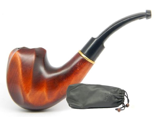 Dr.Watson – Tobacco Smoking Pipe – VOLCANO II – Hand Made, Smooth (9mm filter) + Branded Pouch