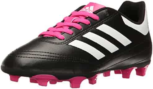 Adidas Kids' Goletto VI J Firm Ground Soccer Cleats, Black/White/Shock Pink, 2.5 Medium US Little Kid