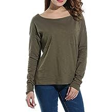 Meaneor Women's Loose Long Dolman Sleeve Scoop Neck Pocket T-shirt Blouse