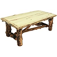 Mountain Woods Furniture Aspen Grizzly Collection Coffee Table, Beeswax/Linseed Oil Finish