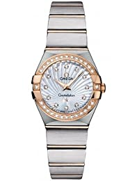 Omega Constellation Mother of Pearl Diamond Dial Brushed Steel Ladies Watch 123.25.24.60.55.002