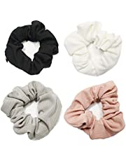Scrunchies with Pockets-4pcs Shiny Metallic VSCO Girls Scrunchies with Zipper Women Hair Ties for Thick/Thin Hair Cute Hair Accessories